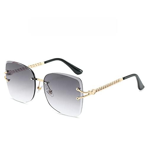 SLIYFJKQLX Gafas De Sol De Corte Sin Montura para Mujer, Gafas De Sol De Océano De Moda, Gafas De Sol De Moda