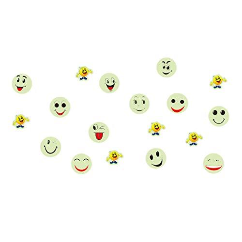 HINK-Home Adhesivo Decorativo para Pared, Brilla en la Oscuridad, Luminoso, Fluorescente, para Pared, Cara Sonriente, para decoración del hogar, Color Amarillo