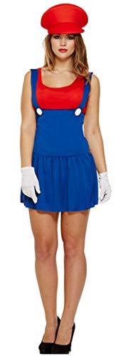 Fancy Me Femme Sexy Mario Luigi année 1980 Années 1990 Enterrement Vie Jeune Fille Halloween déguisement Costume Tenue - Rouge, One Size (Best Fits UK 8-12)