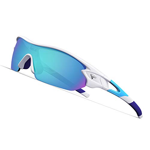 Torege Polarized Sports Sunglasses With 3 Interchangeable Lenes for Men Women Cycling Running Driving Fishing Golf Baseball Glasses TR002 (White&Ice Blue lens)