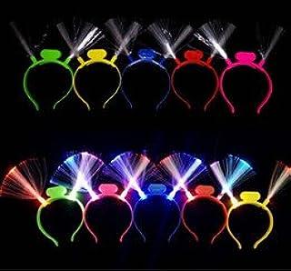The Electric Mammoth Fiber-Optic LED Flashing Original Crown Headband, Lot of 12 Headbands, Assorted Colors