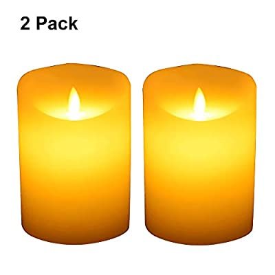 """TOPCHANCES 3"""" x 4.5"""" LED Flickering Flameless Candle Light Battery Operated Plastic Column Led Candlelight with 6 Hours Automatic Timer for Christmas, Birthday, Home, Wedding, Party, Decor"""