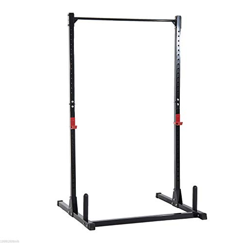 Soozier Adjustable Barbell Power Rack Squat Stand Strength Training Fitness Pull Up Weight Cage Home Gym Black