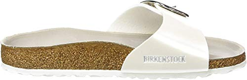 BIRKENSTOCK Damen Madrid Big Buckle Pantoletten, Weiß (Pearly White Hex Mud Pearly White Hex Mud), 37 EU
