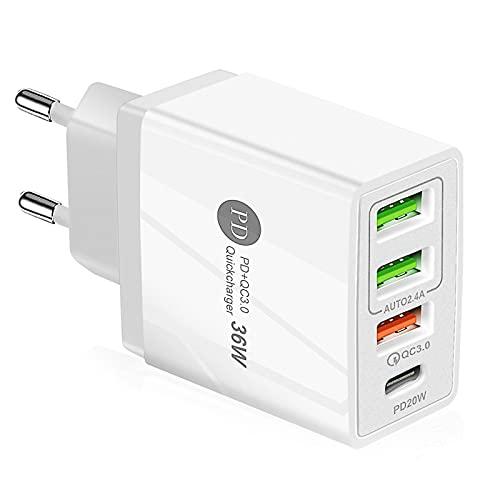 Dee Banna Cargador USB de Pared, Quick Charge 3.0, 36W 4 Puertos Adaptador De Carga RáPida para iPhone 12/11/ XS/Se/X / 8/7/6/ iPad, Samsung Galaxy S21 / S20 / S9 / Note, LG, Huawei, Xiaomi