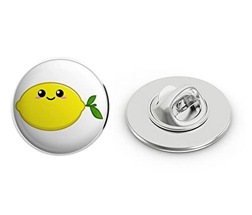 "BRK Studio Cute Kawaii Anime Fruit Cartoon Emoji - Lemon Round Metal 0.75"" Lapel Pin Hat Shirt Pin Tie Tack Pinback"