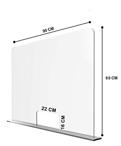 Solarplexius Spuckschutz mit Durchreiche Hustenschutz Niesschutz Virenschutz Thekenaufsatz Tischaufsatz Tresenaufsatz Antibakteriell Transparent Acrylglas (16cm | 90 x 60 cm)