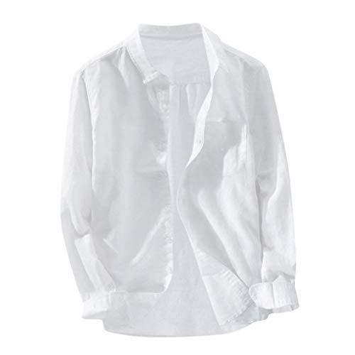 Yowablo Herren Langarm Hemden Freizeit Shirts Regular Fit Hemden Baggy Solid Cotton Leinen Langarm Button Pocket Plus Size T-Shirts (XL,3Weiß)
