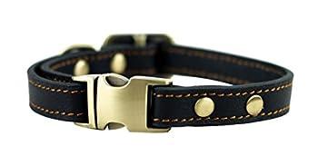 Rantow Collier en Cuir réglable Durable et Confortable pour Chiot Chat Petit Chien Taille du Cou réglable de 24,1 cm à 33 cm et 1,5 cm de Large (Noir)