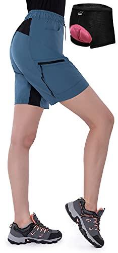Cycorld MTB Hose Damen Radhose, Atmungsaktiv Mountainbike Hose Damen mit 4D gepolstert Schnelltrocknend Fahrradhose Bike Hose Damen Outdoor MTB Shorts (Pfauenblau mit Unterwäsche, M)