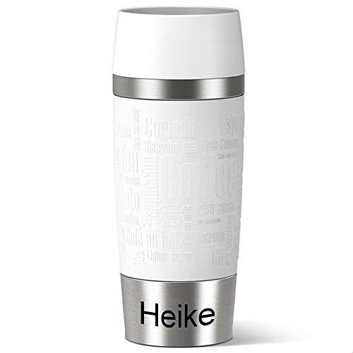 Emsa Isolierbecher MIT Gravur (z.B. Namen) 360ml TRAVEL Mug Weiß mit persönlicher Rundgravur, Travelmug Kaffee & Tee Thermo to-go-Becher mit Quick Press Verschluss 100% auslaufsicher