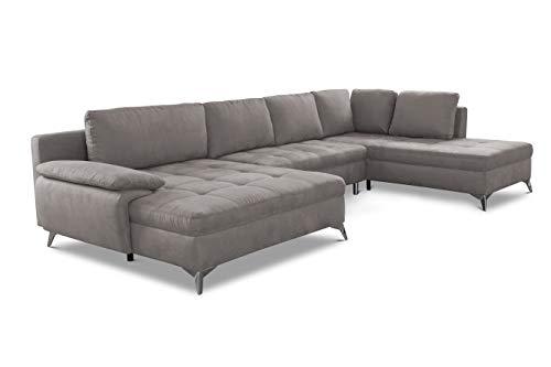 CAVADORE Wohnlandschaft Lina / Große Sofalandschaft Sofa mit XL-Longchair, Ottomane und gesteppter Sitzfläche / 346 x 85 x 201 / Mikrofaser: Hellgrau