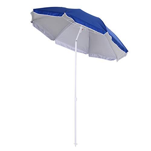 Outsunny Parasol inclinable octogonal de Plage Ø 150 cm Tissu Polyester Haute densité Anti-UV mât démontable Sac de Transport inclu Bleu