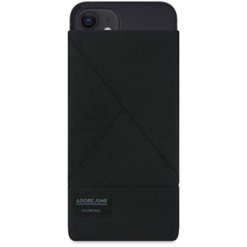 Adore June Tasche Triangle kompatibel mit iPhone 13 Mini/iPhone 12 Mini, Elegante Handytasche aus beständigem Textil-Stoff mit Bildschirm-Reinigungseffekt, Schwarz