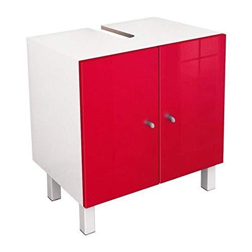 Berlioz Creations - Mueble bajo Lavabo, Madera MDF, 60 x 42 x 65 cm, Color Rojo