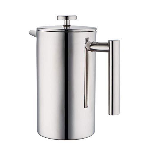 ACOCO Französische Presse Kaffeemaschine - 1000ML Hochwertige Doppelte Kaffeekanne Aus Rostfreiem Stahl Französische Druckfilter-Teekanne, Edelstahl-Kaffeepresse Mit Französischem Pressfilter,Silber