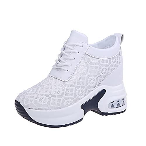 Donne Scarpe Bianche Mescoli Traspiranti Mesh Chunky Piattaforma Sneakers Estate Ladies Lace Floral Hollow out Tacchi a Cuneo Casual Calzature Casual White 6