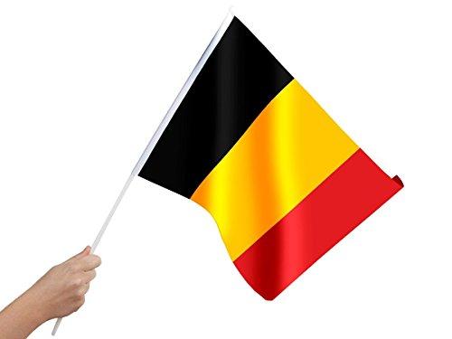 Alsino Drapeau Belge 30x45 cm de qualité supérieure 100% Polyester 00/0859 monté sur Une hampe en Plastique, à agiter à la Main Belgique België Belgium Rouge Jaune Noir Diables Rouges Rode Duivels