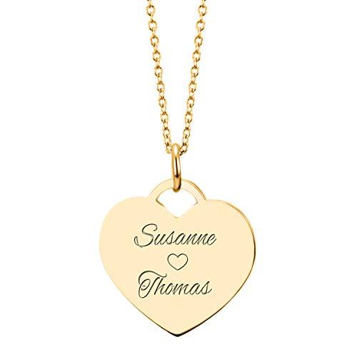 URBANHELDEN - Herzkette mit Wunschgravur - Damen-Kette Namenskette mit 2 Namen - Amulett in Herzform - Personalisierte Kette Herz Anhänger - Gold
