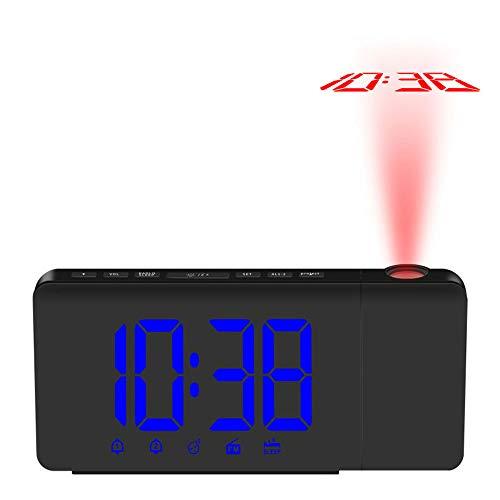 Walmeck- Réveil à Projection LED à Commande USB Horloge de Bureau Radio FM Dimmable avec Projecteur Rotatif Fonction de Rappel D'alarme Double