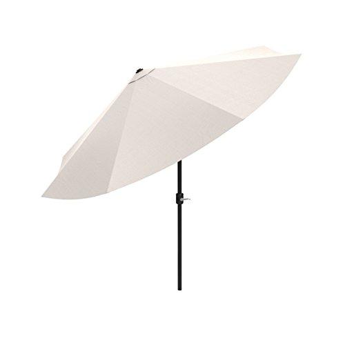 Pure Garden Patio Umbrella, Shade with Easy Crank and Auto Tilt Outdoor Table Umbrella for Deck, Balcony, Porch, Backyard, Poolside, 10 ft (Tan)