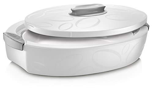 Thermobehälter 4 Liter (Weiß) | Zum Warmhalten von Speisen bis zu 5h | Thermobehälter | Thermoschüssel mit Deckel | Warmhaltetopf groß 4 Liter | Zum Grillen