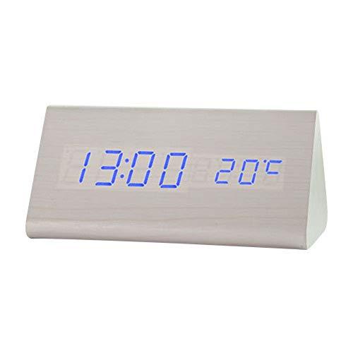 Digitale Wekker LED-Bedkop Met Temperatuur Datumweergave & 3 Waarschuwingen USB-Oplaadklok Geschikt Voor Slaapkamers Woonkamer Keuken Beste Cadeau Voor Kinderen,B blue font
