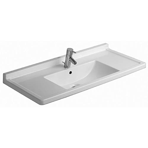 Duravit Starck 3 Möbelwaschtisch 105 cm Breite weiß   mit 1 Hahnloch   mit Überlaufschutz   Wandwaschtische aus Sanitärkeramik   Waschbecken mit Befestigungsmateriale zur Wandmontage