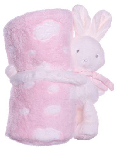 Flauschige Baby Kinder Kuscheldecke mit süßen Stofftieren in verschiedenen Varianten, Kinderdecke, Wolldecke (hasewolkerosa)