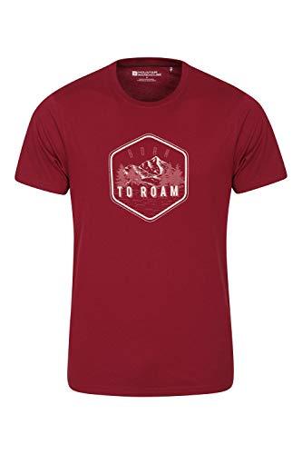 Mountain Warehouse Tri Linear T-Shirt para Hombre - Camiseta Ligera, Top cómodo, Parte de Arriba de Cuidado fácil - Ideal para Viajes, Deportes, Exteriores, Acampar Burdeos L