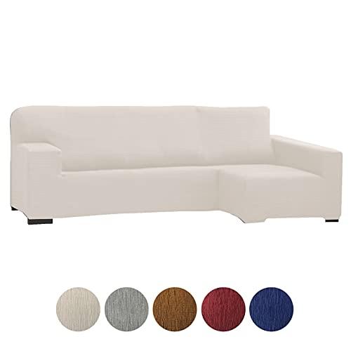 Grupo Fomento Directo - Funda para Sofá Chaise Longue, Funda protectora de sofá en Forma de L de Tela elástica (Beige, Derecha)