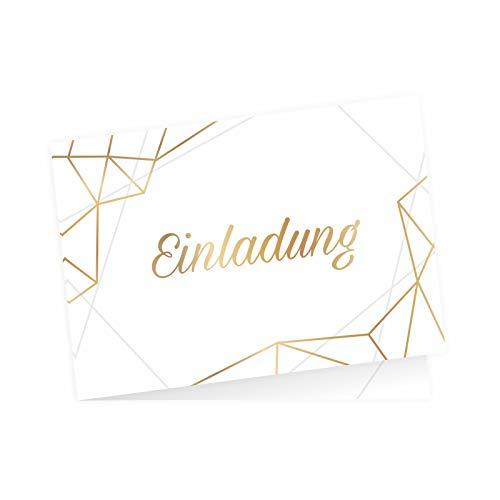 5 edle Klapp-Einladungskarten Linien Gold inkl. 5 weißen hochwertigen Briefumschlägen - Hochzeit Geburtstag Konfirmation Jubiläum