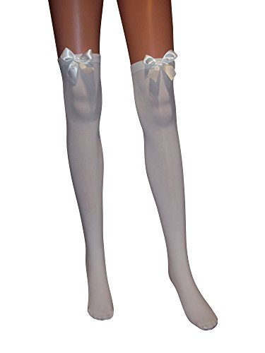 Emmas Wardrobe White Thigh High Stockings with Black and Red Bows - Perfect Fancy Dress Accessory (Weiß w/weißer Bogen, One Size)