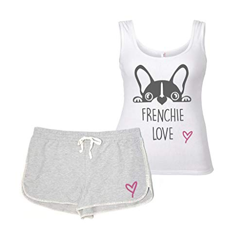 Frenchie Love Pajama Set PJ's Loungewear Lounge Wear Grey and White Dog
