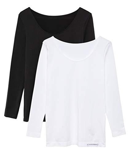 Pack de 2 Camisetas Interiores Mujer Manga Larga Licra Sin Costuras Seamless Colores Lisos (Blanco-Negro, L-XL)