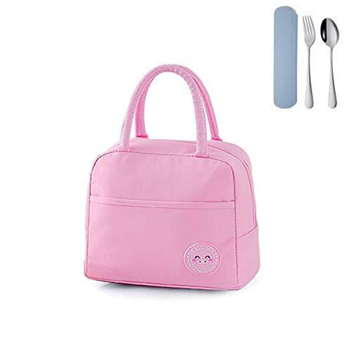 Borsa termica per il pranzo, borsa per il pranzo, mini borsa impermeabile per il pranzo, 2 set di posate in acciaio inox, portatile, riutilizzabile, borsa da picnic per uomini e donne (rosa)