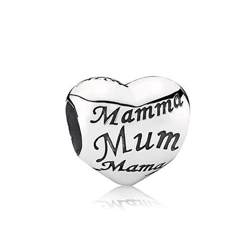 ZHANGCHEN 925 Sterling Silver Bead Mother's Heart Charm Fit Fashion Women Pan Bracelet Bangle Gift DIY Jewelry