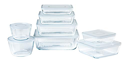 Pyrex® Cook & Freeze 8-teiliges Set aus Glas mit luftdichten Deckeln zum Einfrieren und Einfrieren, BPA-frei
