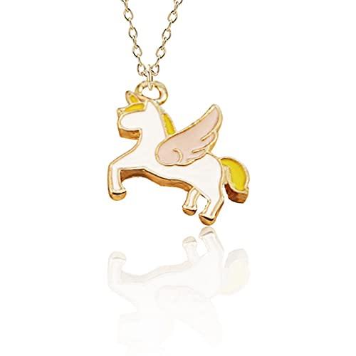 DOOLY Collar con Colgante de Unicornio de Moda Mejores Amigos Kawaii Lindo Collar Gargantilla de Cadena Dorada para Mujeres y niñas Regalos