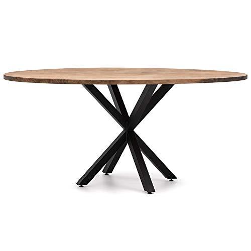 Table de salle à manger ovale pied étoile 160 x 80 x 75 cm en bois de pin massif finition vintage avec épaisseur 30 mm style industriel Box Furniture