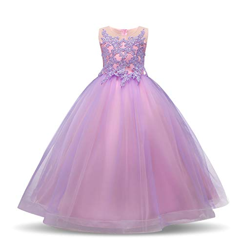 TTYAOVO Girls Embroidered Princess Pageant Ball Gowns Wedding Party Dress Size 9-10 Years Purple