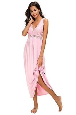 Womens Sleepwear Lace Lingerie Chemises V Neck Nightgown Long Sexy Sleep Dress Sleeveless Lace for Women Elegant (Light Pink, Large)