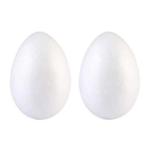 Amosfun 4pcs Oeuf Polystyrène Oeufs de Pâques Mousse de Polystyrène Blanc Decoration Fete Pâques Artisanat pour Enfants Peinture 20cm Blanc