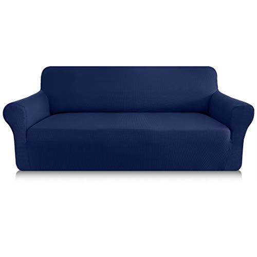 Granbest Funda de sofá elástica de 1 pieza para sofá de 4 plazas de grosor, antiarañazos, antideslizante, de tela Jaquard Spandex, diseño elegante, funda para sofá (4 plazas, azul marino)