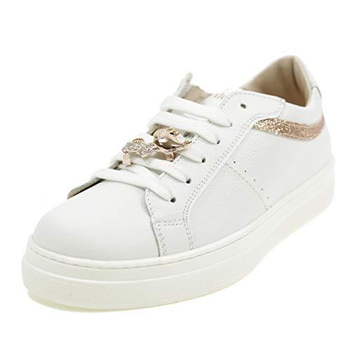 Andrea Morelli M4A450330 - Zapatos Bajos con Cordones y Cremallera para Perro, Fabricados en Italia, Color Blanco Blanco Size: 35 EU
