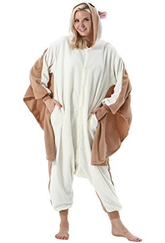 Mujer Hombre Pijama Animal Entero Unisex para Adultos con Capucha Cosplay Pyjamas Ropa de Dormir Traje de Disfraz para Festival de Carnaval Halloween Navidad Ardilla Voladora para Altura 148-187cm