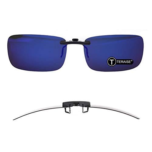 TERAISE Polarisierte Sonnenbrille mit Clip über Brillen Blendschutz UV404 für Männer Frauen Fahren Reisen Outdoor Sport (Blue)