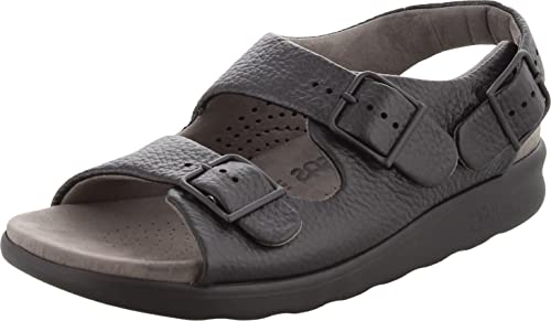 San Antonio Shoe Womens Relaxed Leather Open Toe Casual Slingback Sandals Black 10 M US