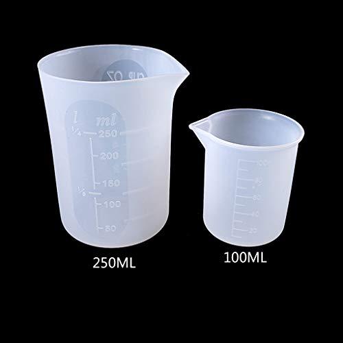 ZJL220 2 vasos medidores de silicona flexibles de 100 ml y 250 ml
