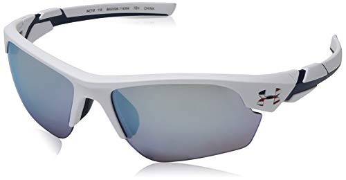 Under Armour Kids' Windup Sunglasses Wrap, SATIN WHITE WITH NAVY/UA TUNED BASEBALL WITH BLUE, 64 mm